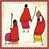 Masai People Illustrations. Illustrations of African Masai people Royalty Free Stock Photo