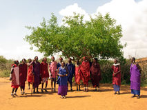 Masai people welcome song Stock Photos