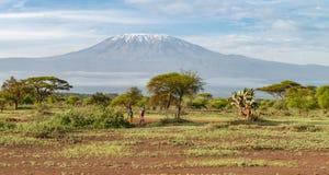 Free Masai People  With A Backdrop Of Killimanjaro Mountain At  Amboseli National Park, Kenya Royalty Free Stock Images - 170315929