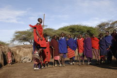 Masai performing warrior dance. Stock Photo