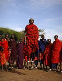 Masai performing warrior dance. Stock Photos
