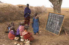 Masai school outdoors Royalty Free Stock Images