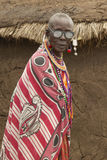 Masai Senior Elder man with eyeglasses in village near Tsavo National Park, Kenya, Africa Royalty Free Stock Photo