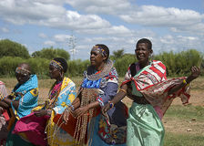 Masai songs. Masai women singing songs before tourists Royalty Free Stock Photo