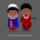 masai Tanzanians i nationell kläder med en flagga vektor illustrationer