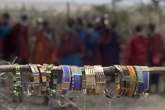 Masai tipycal souvenirs at a village royalty free stock photography
