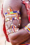 Masai traditional costume. Kenya. Detail of the traditional Masai red costume Royalty Free Stock Photography