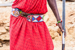 Masai traditional costume. Kenya. Detail of the traditional Masai red costume Stock Photo