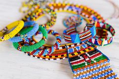 Masai traditional jewelry. Colorful traditional jewelry of Masai tribe stock images