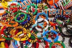 Masai traditional jewelry. Colorful traditional jewelry of Masai tribe royalty free stock photos