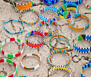 Masai traditional jewelry in village market, Tanzania. Masai traditional bracelets and jewelry in village market, Tanzania royalty free stock image