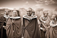 Masai with traditional  ornaments, Tanzania. Stock Photos