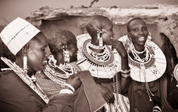 Masai with traditional  ornaments, Tanzania. Stock Image