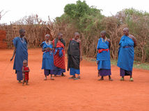 Masai tribe. The group of women from the Masai tribe. Photo taken on: December 01, 2007 in the vicinity of Mombasa - about 100 km, the road towards the Tsavo Stock Photography