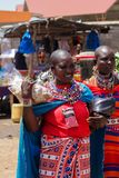Masai tribe traditional dressed woman in African street market stock photo