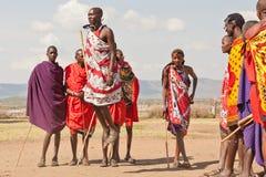 Masai warrior dancing. Traditional dance. Africa. Kenya. Masai Mara. Editorial use only Royalty Free Stock Image