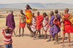 Masai warrior dancing. Traditional dance. Africa. Kenya. Masai Mara. Editorial use only Stock Photography