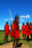 Masai warrior dancing traditional dance Royalty Free Stock Photography