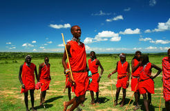 Masai warrior dancing traditional dance Stock Images