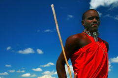 Masai warrior dancing traditional dance Royalty Free Stock Image