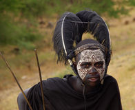 Masai Warrior 1. Portrait of a Masai warrior with war paint Royalty Free Stock Photo