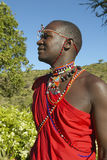 Masai Warrior in red robe of Lewa Conservancy, Kenya Africa Royalty Free Stock Photography