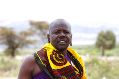Masai warrior with vivid color dress Stock Photo