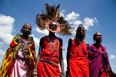 Masai warriors. Four Masai warriors in there village near Ngerende Royalty Free Stock Photos