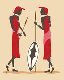 Masai warriors. A hand drawn illustration of two masai warriors in tribal dress standing with spears and shield Royalty Free Stock Photo