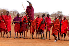 Masai warriors dancing Stock Photos
