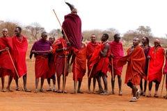 Masai warriors dancing Stock Photos