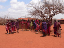 Masai warriors dancing Royalty Free Stock Photography