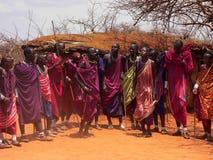 Masai warriors dancing Royalty Free Stock Image