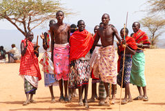 Masai warriors dancing Royalty Free Stock Photo