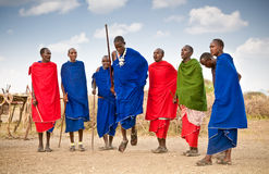 Masai warriors dancing traditional jumps as cultural ceremony. T Stock Photo