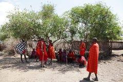 Masai warriors at masai village Stock Photos