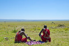 Masai Warriors Resting Royalty Free Stock Image