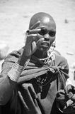 Masai woman. SERENGETI, TANZANIA - NOV 23: Unidentified Masai woman adorned with jewels on November 23, 2011 in the Serengeti, Tanzania. Masai women wear many Stock Photos
