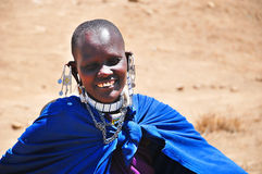 Masai woman. SERENGETI, TANZANIA - NOV 23: Unidentified Masai woman adorned with jewels on November 23, 2011 in the Serengeti, Tanzania. Masai women wear many Royalty Free Stock Photo