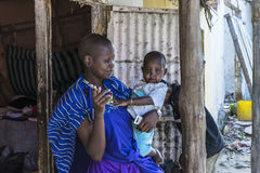 Masai woman with baby Royalty Free Stock Photos