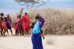Masai woman and child Stock Photos