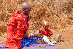 Masai woman with child Royalty Free Stock Image