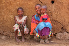 Masai woman and children stock images
