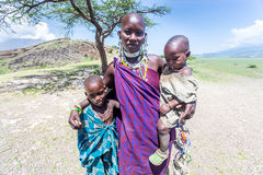 Masai woman with her kids Stock Photography