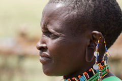 Masai woman portrait. Native Masai woman portrait with traditional jewelry from beside Royalty Free Stock Photography