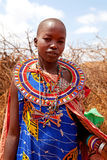 Masai woman is showing traditional clothes Stock Photo