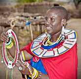 Masai woman with traditional  ornaments. Tanzania. Stock Photography