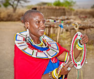 Masai woman with traditional  ornaments. Tanzania. Royalty Free Stock Image