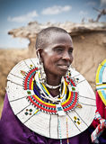 Masai woman with traditional  ornaments, Tanzania. Royalty Free Stock Photo