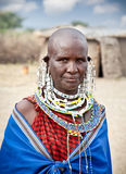 Masai woman with traditional ornaments, Tanzania. Royalty Free Stock Images